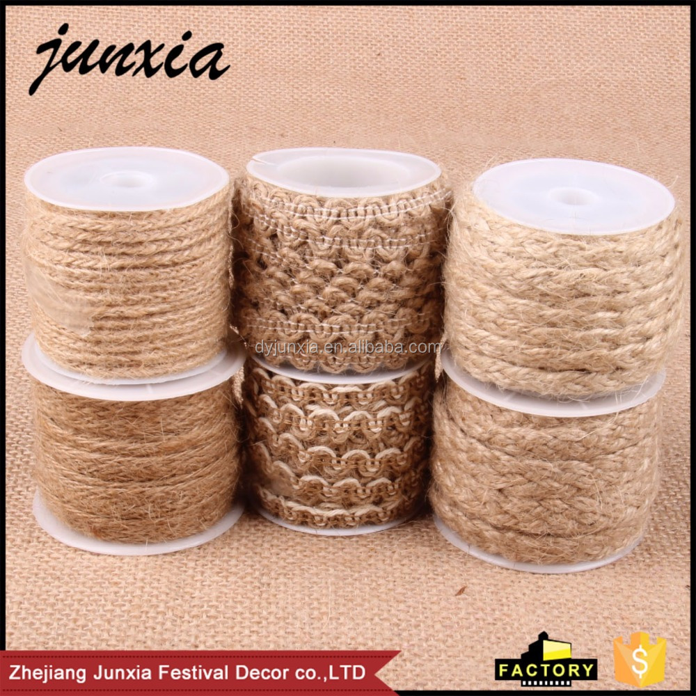 Junxia 2016 Jute Burlap Weaving Cord Manufacture Woven Jute Rope For Handmade Or Gift Wrapping