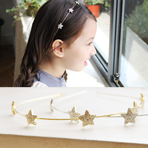 S32152W New Korean Style Princess rhinestone Stars Elegant kids Girl Headbands
