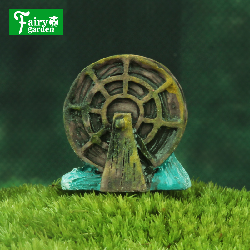 Fairy Garden Miniature Statue Waterwheel Figurine Craft Micro Landscape Decor Resin Ornaments