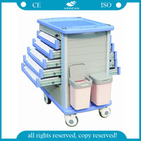 AG-MT011A1 Double side high strength abs emergency medicine trolley