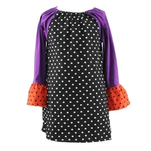 Wholesale cheap Ruffle long sleeve Halloween Cotton fall dress designs for young girls