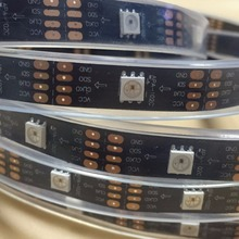 Addressable 5M DC5V APA-102C led pixel strip;30leds/m with 30pixels/m;BLACK PCB;IP66;waterproof in silicon tube;<strong>RGB</strong> full color