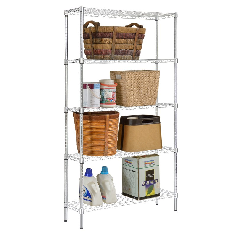 XM_301B 5 Tier Heavy-duty Wire Storage Shelving Multi-functional Shelf Kitchen Living Room Basket Home Rack