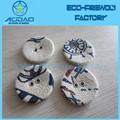 Round flowers printing fabric covered button flat back accessories
