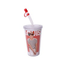 Superior Performance Pp 3D Lenticular Lid Plastic Cups With Straw Novelty Drinking Cup