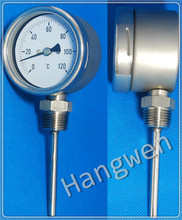 SS304 Bottom Industrial bimetal thermometer