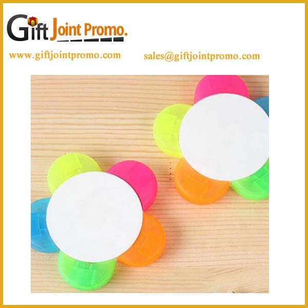 New design logo printed 5 in 1 flower shape highlighter