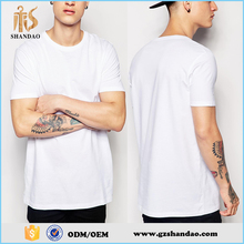 2016 Guangzhou Shandao men's 180grams 75%cotton 25%polyester o-neck solid color white plain t-shirt