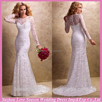 WD1268 2015 mermaid with great price brush train sheer top and back long sleeve wedding gowns