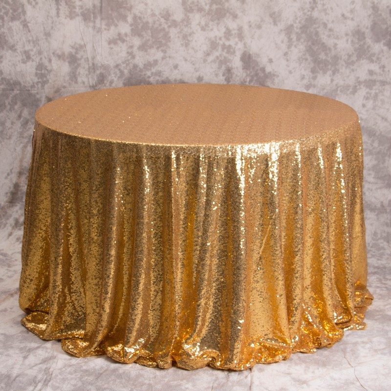 high quality gold cloth round table sequin mesh embroidery tablecloth for party