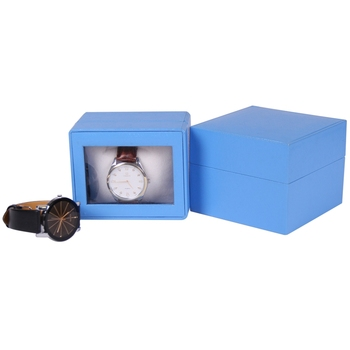 Hot sale clear window leather watch boxes cases with inserts
