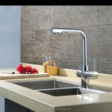 brass two handles kitchen sink water filter faucet with drinking water outlet