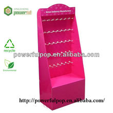 lovely pink color cardboard floor display stand with plastic hooks