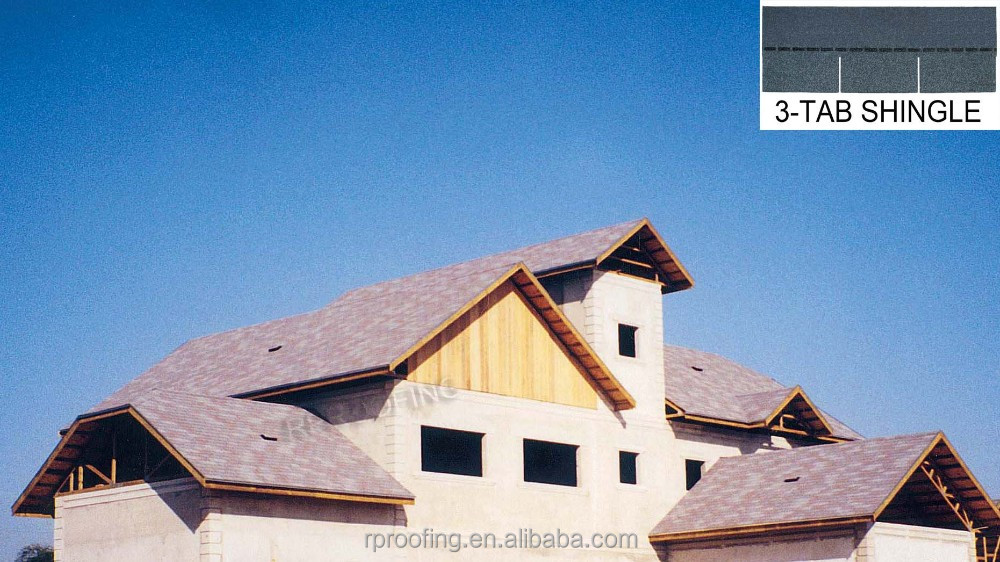 Colorful 3-tab waterproofing roofing shingles,colored asphalt roofing shingles for house using