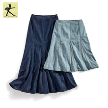 latest long design ODM OEM 100%cotton comfortable casual plus size yarn dyed a-line denim long skirt