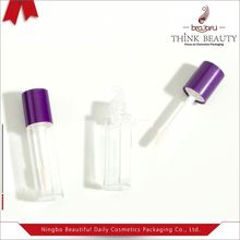 Custom cosmetics empty 2ml mini lip gloss containers /tubes/packaging with flat applicator