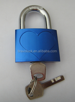 Color Aluminum Padlock heart shaped love lock aluminum lock with keys 40mm 50mm