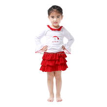 Wholesale Fall Top&Skirt Two Pieces Boutique Baby Clothes Long Sleeve Cotton Top Rufflr Skirt Girls Outfit