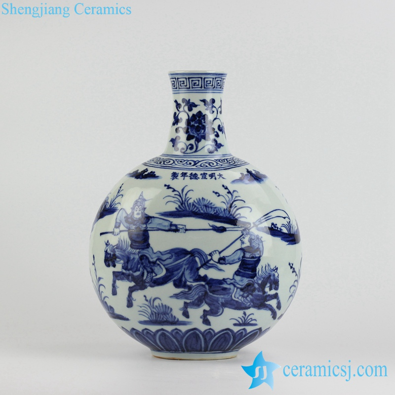 RZHL09-A Ming Dynasty Warring States Period pattern hand paint modelled after antique ceramic globular vase