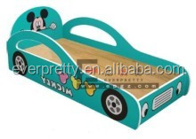 Modern teak wood indoor bedroom furniture funky kids race car bed