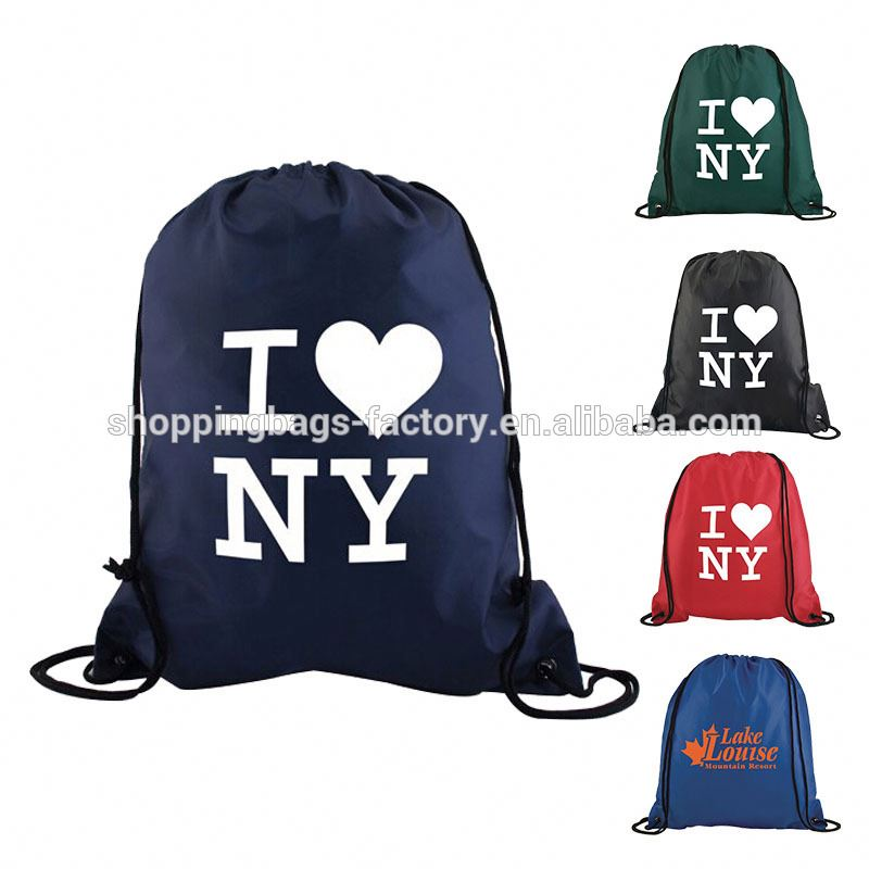 LOW MOQ printed cinch pack polyester cute drawstring bags