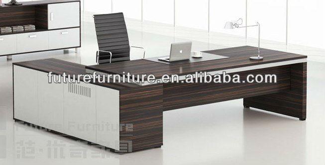 Qatar Market Ebony Dark Brown Ceo Office Desk With Return