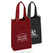 WG169 Custom Size Two Bottle Non-Woven Wine Tote Bag