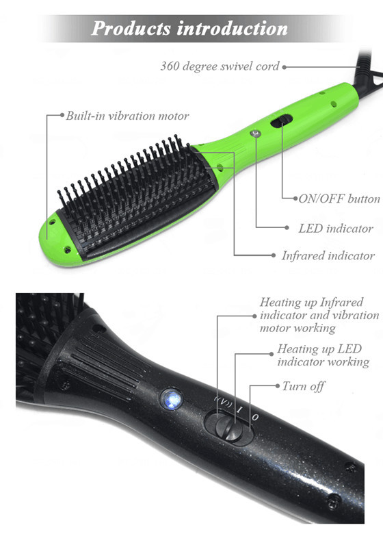 Brand New infrared hair brushes professional Vibration massage LCD electric hair straightening brush