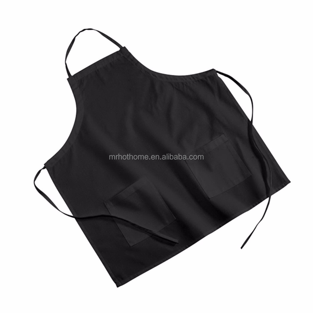 Wholesale promotional plain black aprons cotton