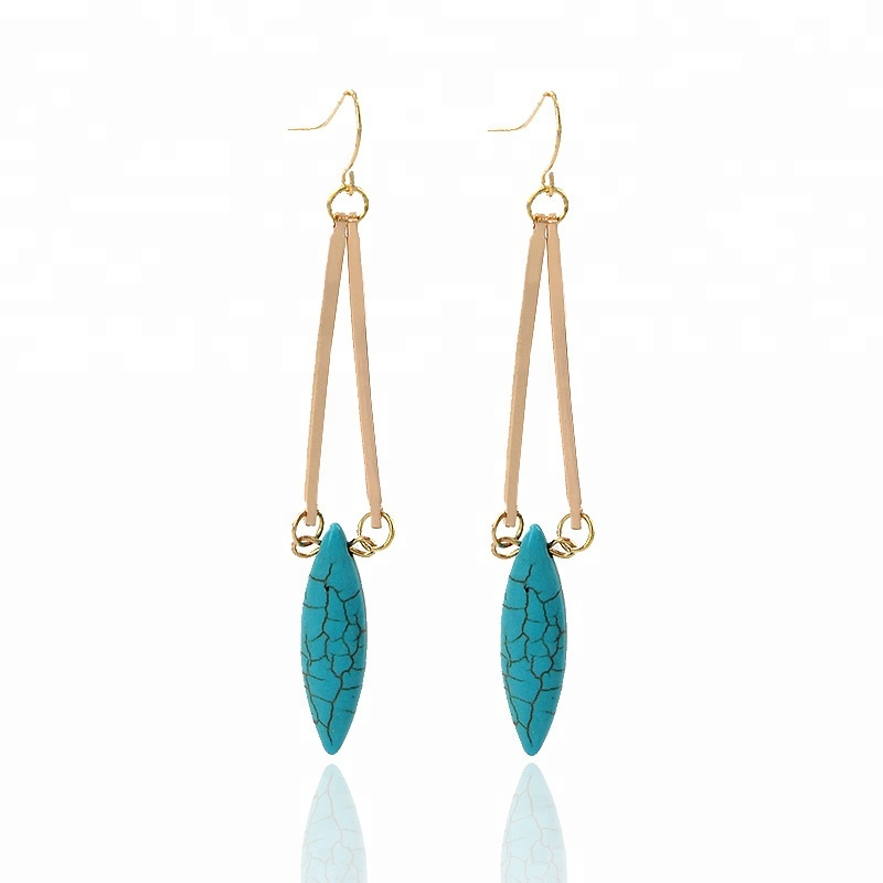 brand unique women gold plated drop turquoise dangle earrings ear <strong>jewelry</strong>