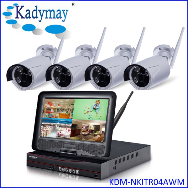 "Fashional and high quality 4ch cctv wireless security ip camera system outdoor with 10.1"" Monitor"
