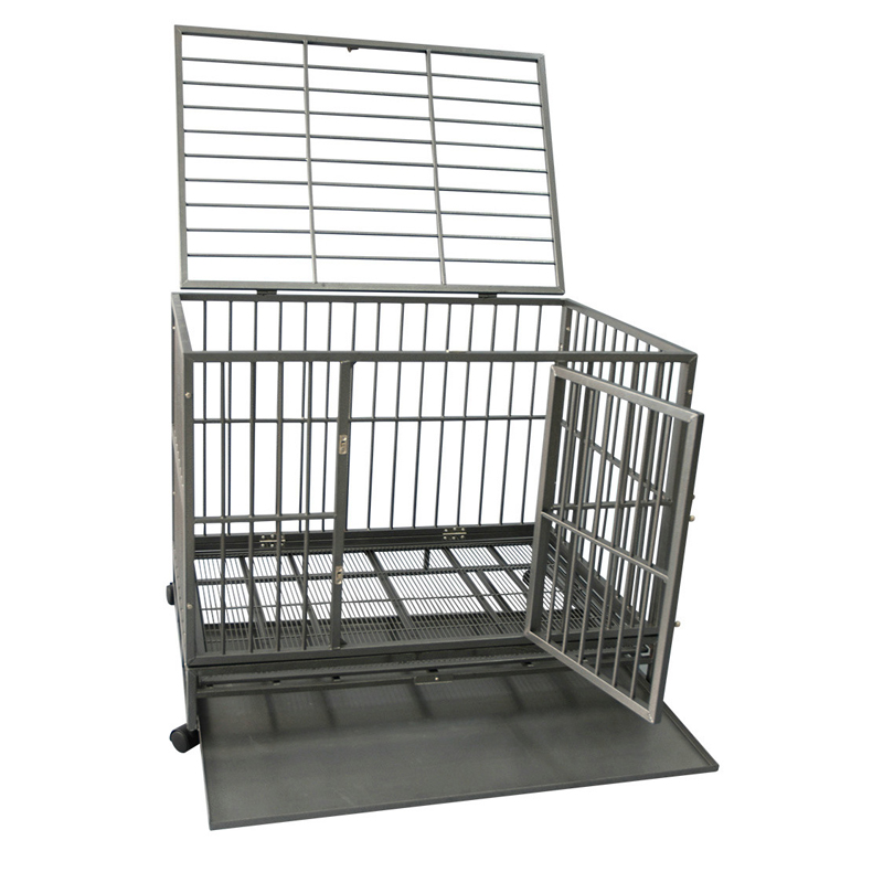 Heavy Duty double Doors dog cage pet kennel with metal tray manufacturer