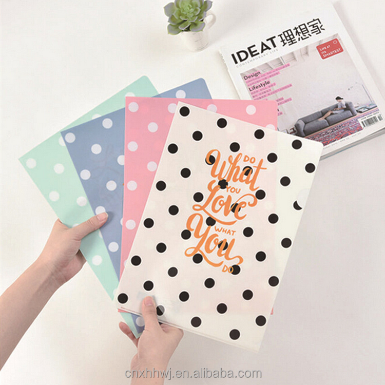 Custom A4 Transparent Clear Plastic School Office Stationery File/Test Paper/Contract L Shape File Folder