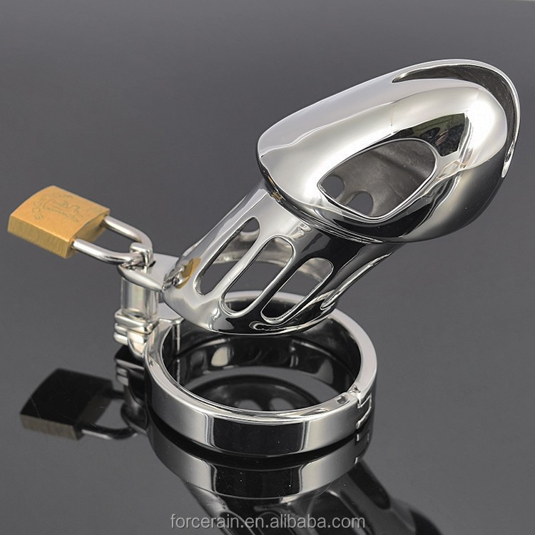 Stainless Steel Male Chastity Belt Adult Cock Cage With Arc-shaped Cock Ring Sex Toys Chastity Device