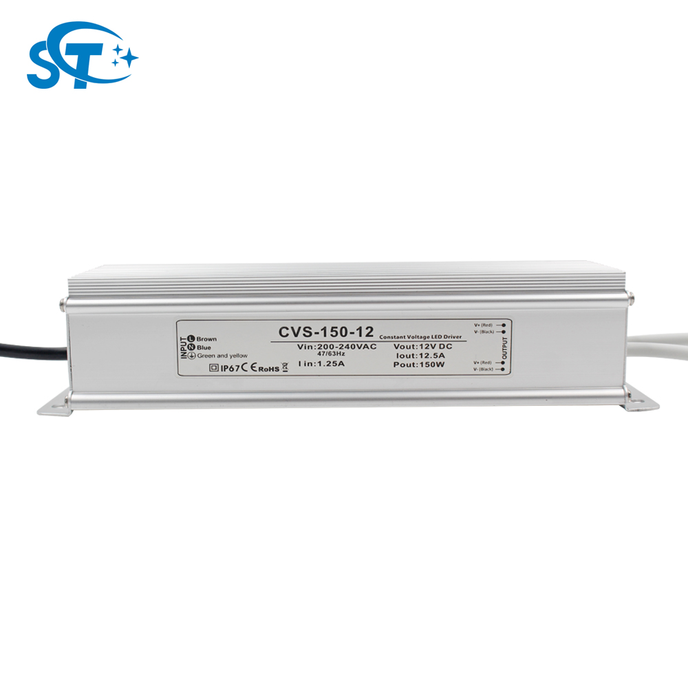 150W 12V 12.5A Waterproof CE ROHS certified led power supply driver IP67 isolation class 2 aluminum case with 3 years warranty