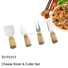 SY-PL013 Cheese Tools 4 Pieces Set Steel Stainless Cheese Slicer Butter Spreader Cheese Knife with Wood Handle