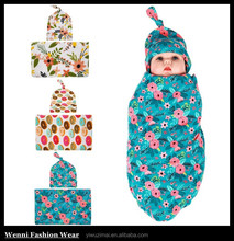 Infant Baby Photo Props Sets Boho Flower Rabbit Headband + Baby Blanket Wrap