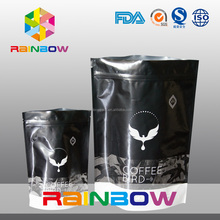 Custom printed foil laminated mylar ziplock coffee bag/Resealable matt black stand up coffee bags