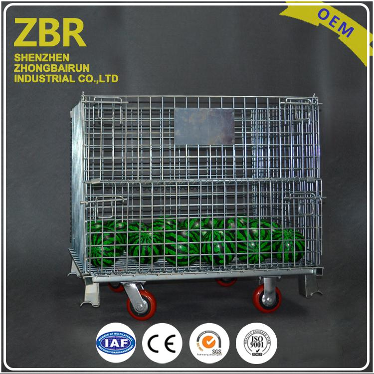 Industrial Warehouse Collapsible Pallet Metal Crate Galvanized Bulk Wire Storage Bins Stacking Cage