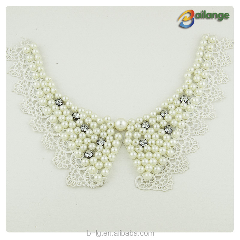 Wholesale beaded collar pearl necklace designs collar pattern neck design of blouse neck collar for ladies suit