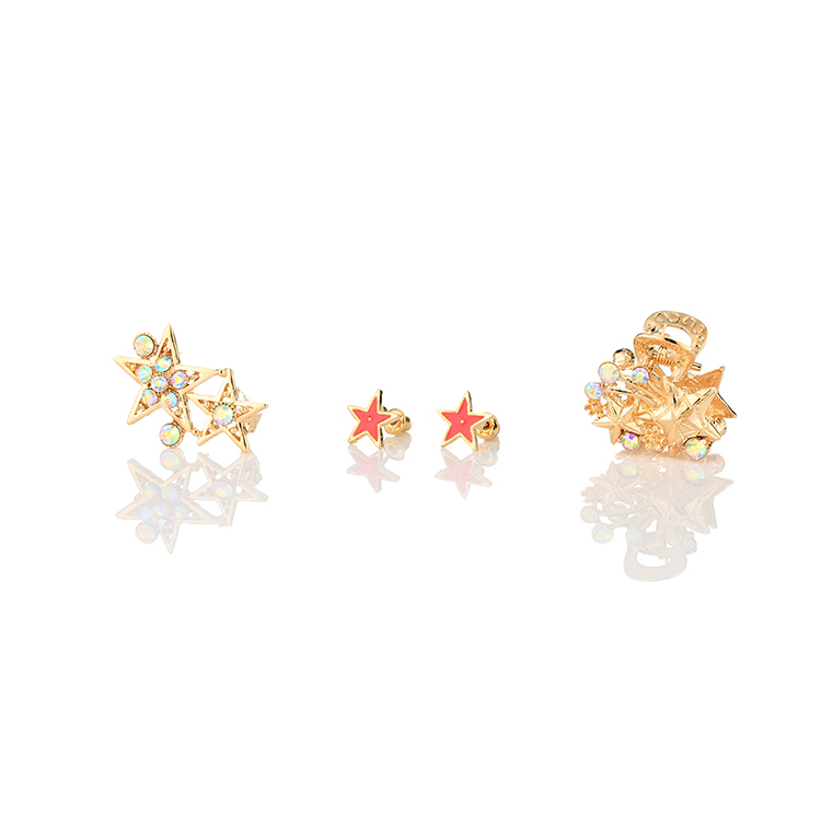 MAYZI brand fashion gold hair accessories set star shaped rhinestone metal hair claw clip crystal hair claw