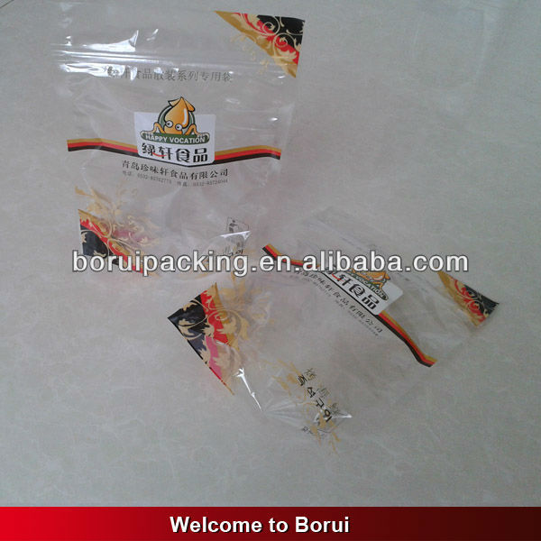 plastic clear stand up zipper bag with colorful printing for food