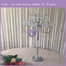 ZT01070 Tall For Wedding Cheap Silver Candelabra With Flower Holder Centerpiece Candle Holders