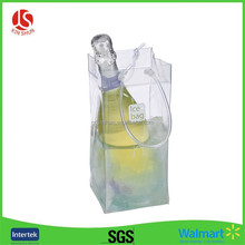 Hot selling Liquid Filled Ice Bags PVC wine Bags with Handle Plastic Ice Bag
