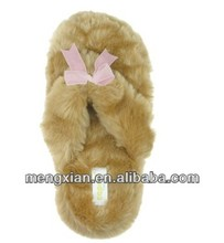 Faux Fur Thong With Organza Bow Ladies Indoor Slipper dressy women flat shoes