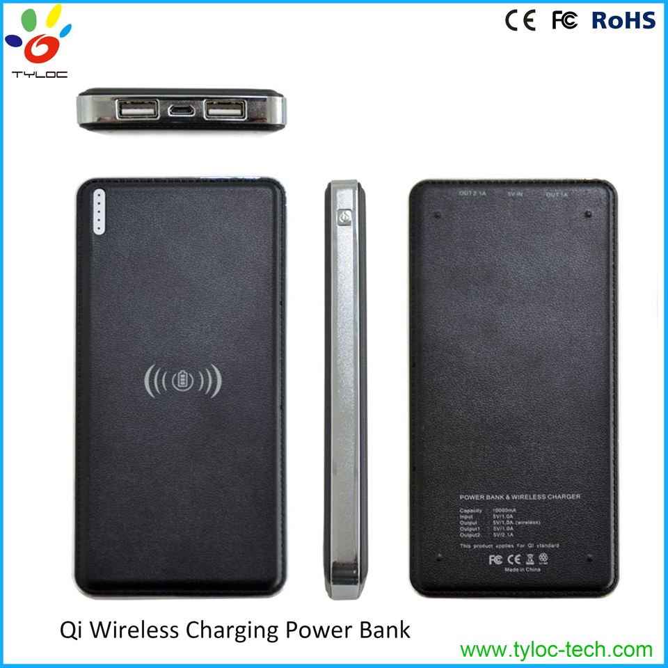 Christmas gift mini usb wireless charger pad 10000mah power bank QI wireless charger for samsung