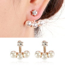 2018 New Earring Design Simple Fashion Pearl Front Back Earring
