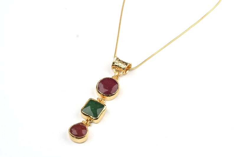 24 K Gold Plated Necklace with High Quality Natural Stones