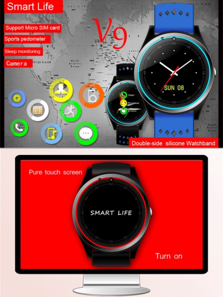 V9 SIM Card Slot pedometer Hands-free Call support Multiple Languages bluetooth  smart silicone wrist watch