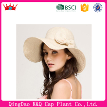 New arrival high quality cheap wide brim ladies beach straw hat to decorate